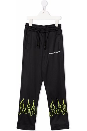 Vision Of Super TEEN flame-embroidery track trousers