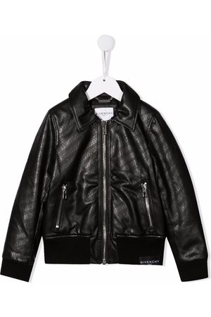 Givenchy Girls Bomber Jackets - Chain-print faux-leather jacket
