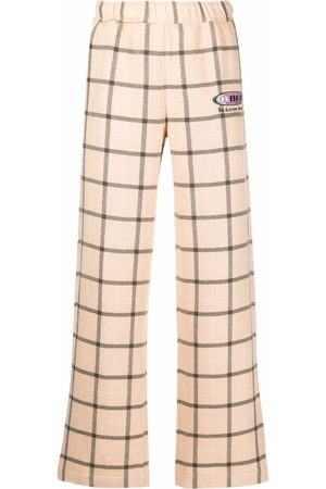 PACCBET Men Wide Leg Pants - Logo-embroidered check trousers