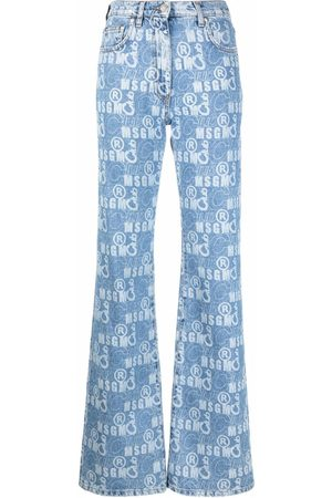 Msgm Women Bootcut & Flares - Logo-print flared jeans