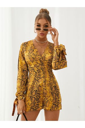 YOINS Deep v neck Snakeskin Cut Out Tie-up at cuffs Playsuits