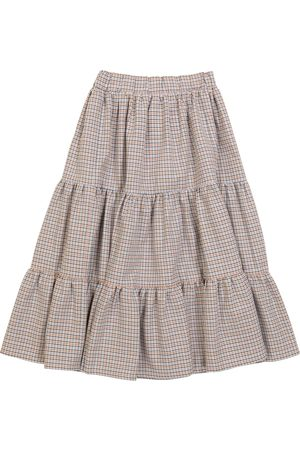 PAADE Girls Skirts - Houndstooth cotton and wool skirt
