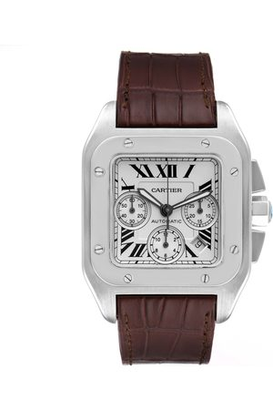 Cartier Santos 100 Xl Silver Dial Chronograph Watch W20090x8 Box Papers