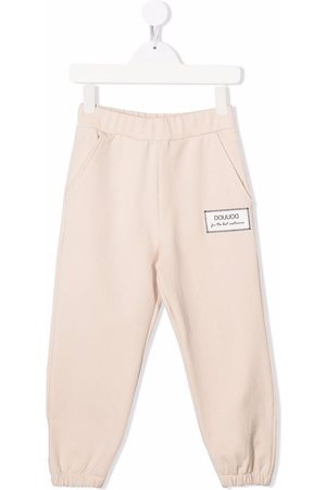 DOUUOD KIDS Logo-patch cotton track trousers
