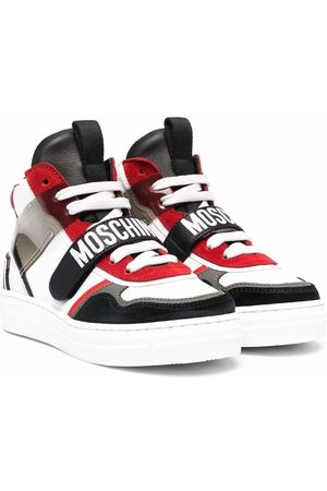 Moschino Logo-print panelled high-top sneakers