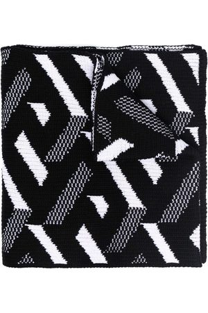 VERSACE Geometric-pattern knitted scarf