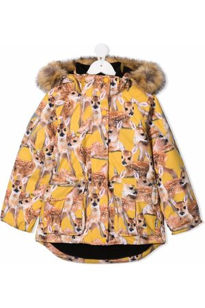 Molo Kids Fawn-print hooded padded jacket