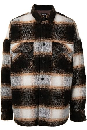 FIVE CM Striped brushed wool shacket