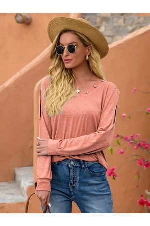 YOINS Cut Out Button Design V-neck Long Sleeves Tee