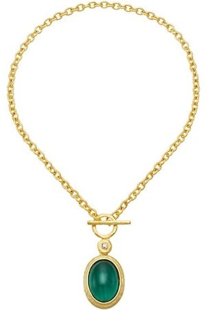 Kenneth Jay Lane Goldplated Faux Emerald Pendant Necklace