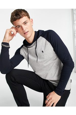 French Connection Raglan long sleeve top with hood in light & navy