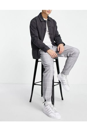 Topman Belted relaxed check trousers in