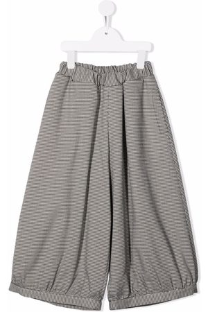 Mimisol Houndstooth-check wide leg trousers