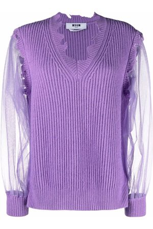 Msgm Sheer-sleeve knitted jumper