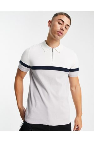 Topman Knitted panelled polo in and white