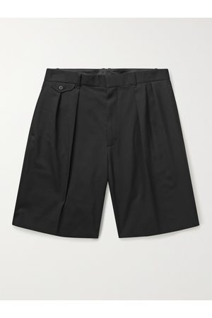 The Row Men Shorts - Gerhardt Pleated Stretch Cotton and Cashmere-Blend Twill Shorts