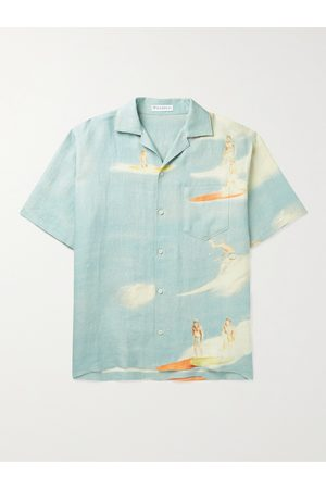 J.W.Anderson Men Shirts - Camp-Collar Logo-Embroidered Printed Linen Shirt