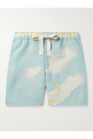 J.W.Anderson Logo-Embroidered Printed Linen Drawstring Shorts