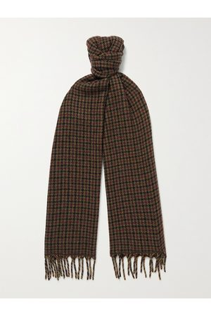 Loro Piana Men Scarves - Fringed Houndstooth Cashmere Scarf