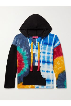 THE ELDER STATESMAN Patchwork Tie-Dyed Cashmere Hooded Sweater
