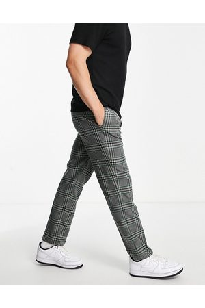 River Island Checked trousers in black and