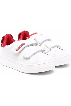 Moschino Logo-print touch-strap leather sneakers