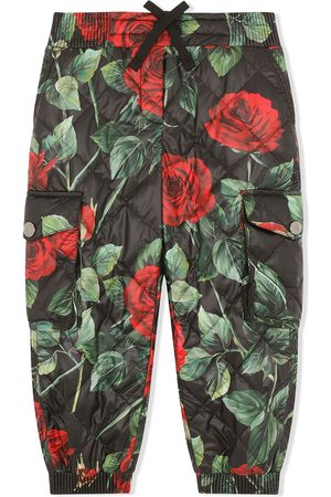 Dolce & Gabbana Rose-print quilted cargo trousers