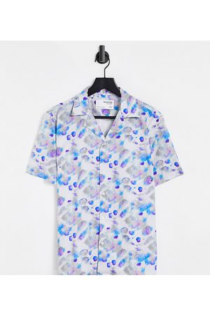SELECTED Relaxed fit shirt with revere collar in watercolour print Exclusive at ASOS
