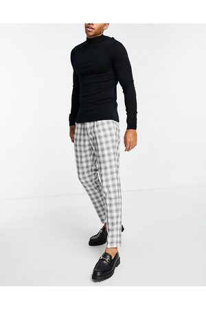 Topman Tapered checked trousers in and white