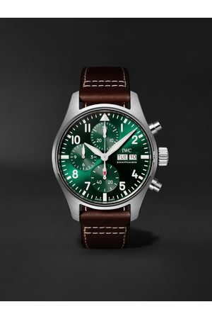 IWC SCHAFFHAUSEN Men Watches - Pilot's Watch Automatic Chronograph 41mm Stainless Steel and Leather Watch, Ref. No. IW388101