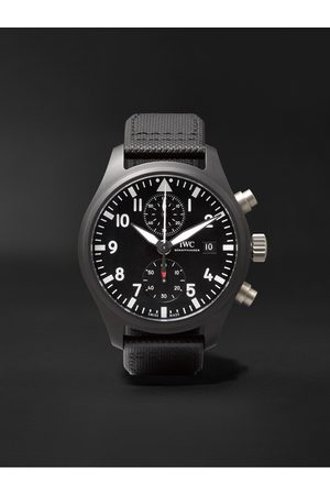 IWC SCHAFFHAUSEN Men Watches - Pilot's TOP GUN Automatic Chronograph 44mm Ceramic and Leather Watch, Ref. No. IW389001