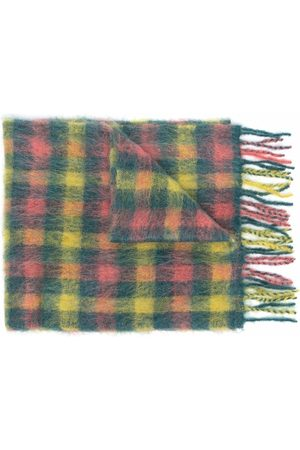 Andersson Bell Check-print frayed-edge scarf