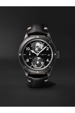 Montblanc 1858 Geosphere Limited Edition Automatic 42mm Distressed Stainless Steel and Leather Watch, Ref. No. 128257