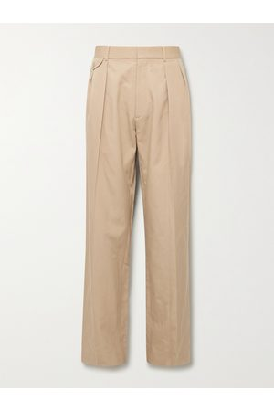 The Row Marcello Wide-Leg Pleated Silk and Cotton-Blend Twill Trousers
