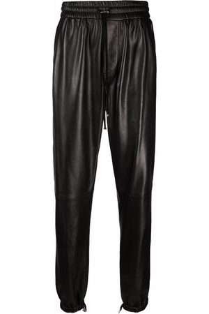 AMIRI Men Leather Pants - Drawstring straight leather trousers