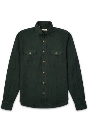 Burrows and Hare Burrows & Hare Linen Pockets Shirt - Forest