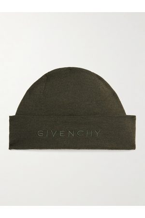 Givenchy Men Beanies - Logo-Embroidered Wool Beanie