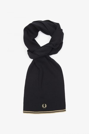 Fred Perry Fred Perry Twin Tipped Merino Scarf - Black/Champagne