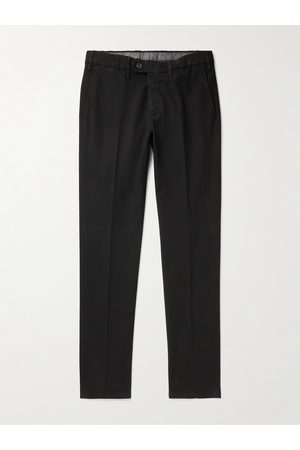 CANALI Slim-Fit Tapered Stretch-Cotton Jacquard Chinos