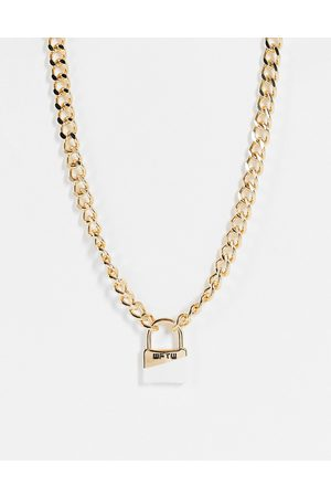 WFTW Men Necklaces - Dipped padlock chain pendant in
