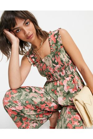 VERO MODA Shirred wide leg jumpsuit in pink and green floral