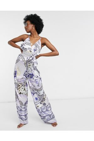 River Island Floral plunge beach jumpsuit in