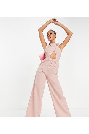 Missguided Wide leg wrap jumpsuit with tie neck in rose