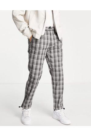 Topman Relaxed check trousers in with bungee cord