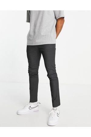 Topman Recycled fabric skinny trousers in charcoal