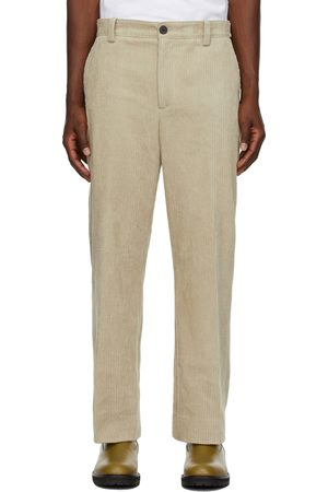 Solid Buttoned-Tab Corduroy Trousers