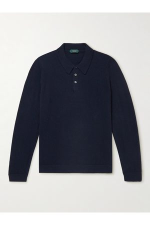 Incotex Men Polo Shirts - Slim-Fit Virgin Wool and Cashmere-Blend Polo Shirt