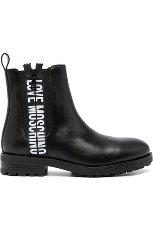 Love Moschino Logo-print leather ankle boots