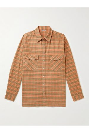 Auralee Men Casual - Checked Silk and Cotton-Blend Flannel Shirt