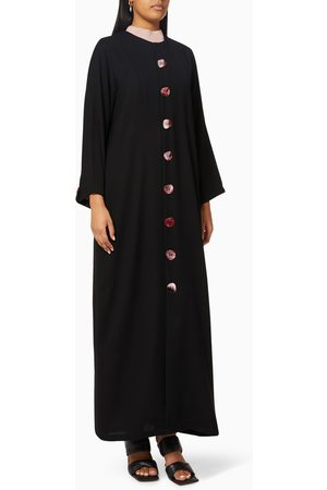 Noor The Label Contrast Buttoned Abaya in Crepe